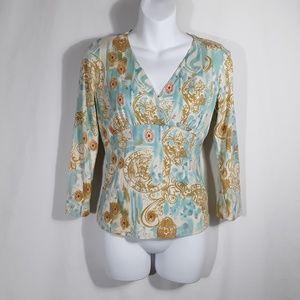 CAbi V-Neck Aqua Lt. Blue White Gold Orient Shirt